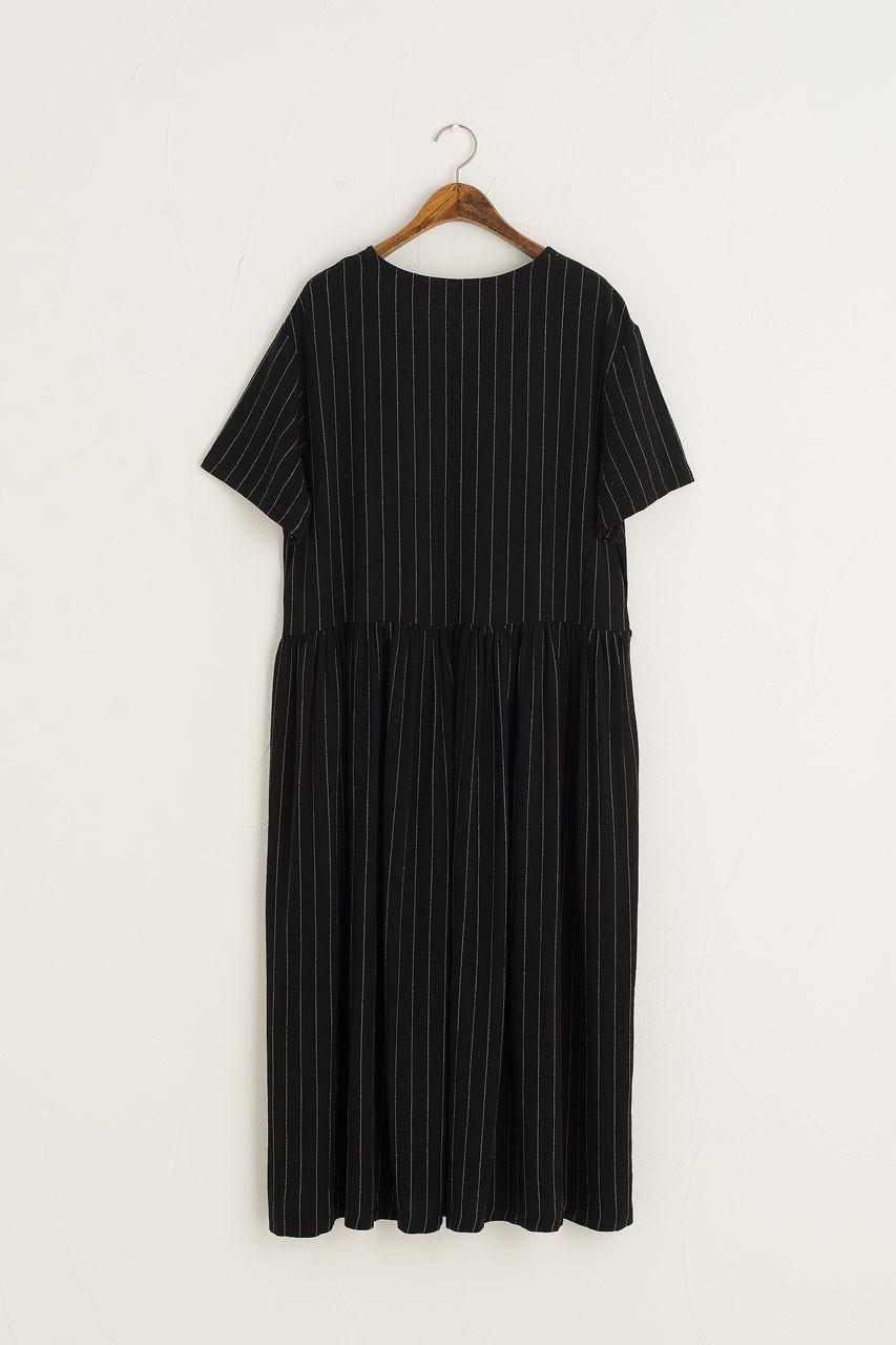 Andie Pinstripe Dress, Black