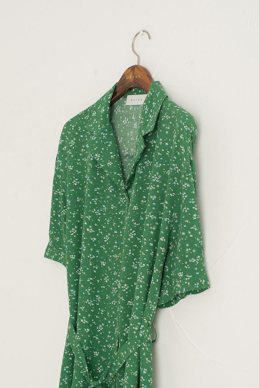 Hera Shirt Flower Dress, Green