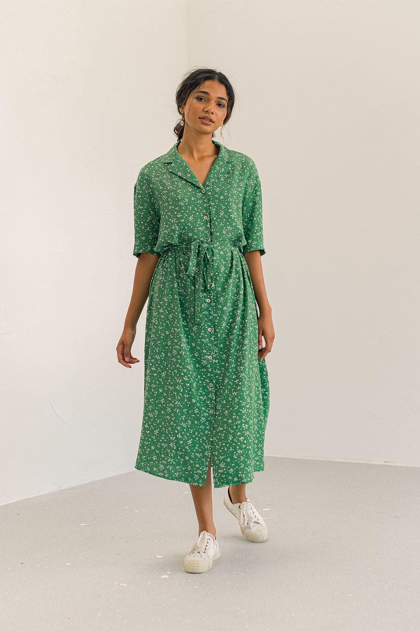 Hara Shirt Flower Dress, Green