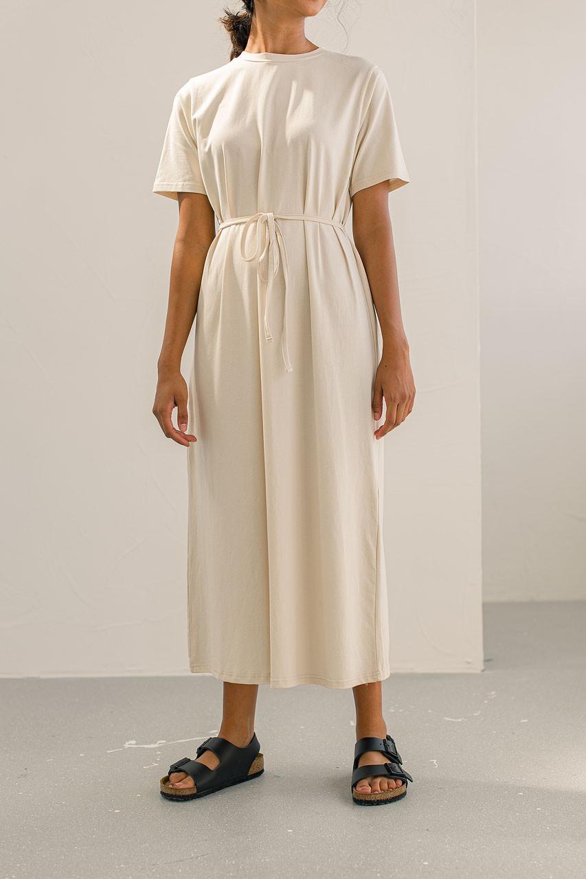 Crew Neck Maxi Cotton Dress, Cream