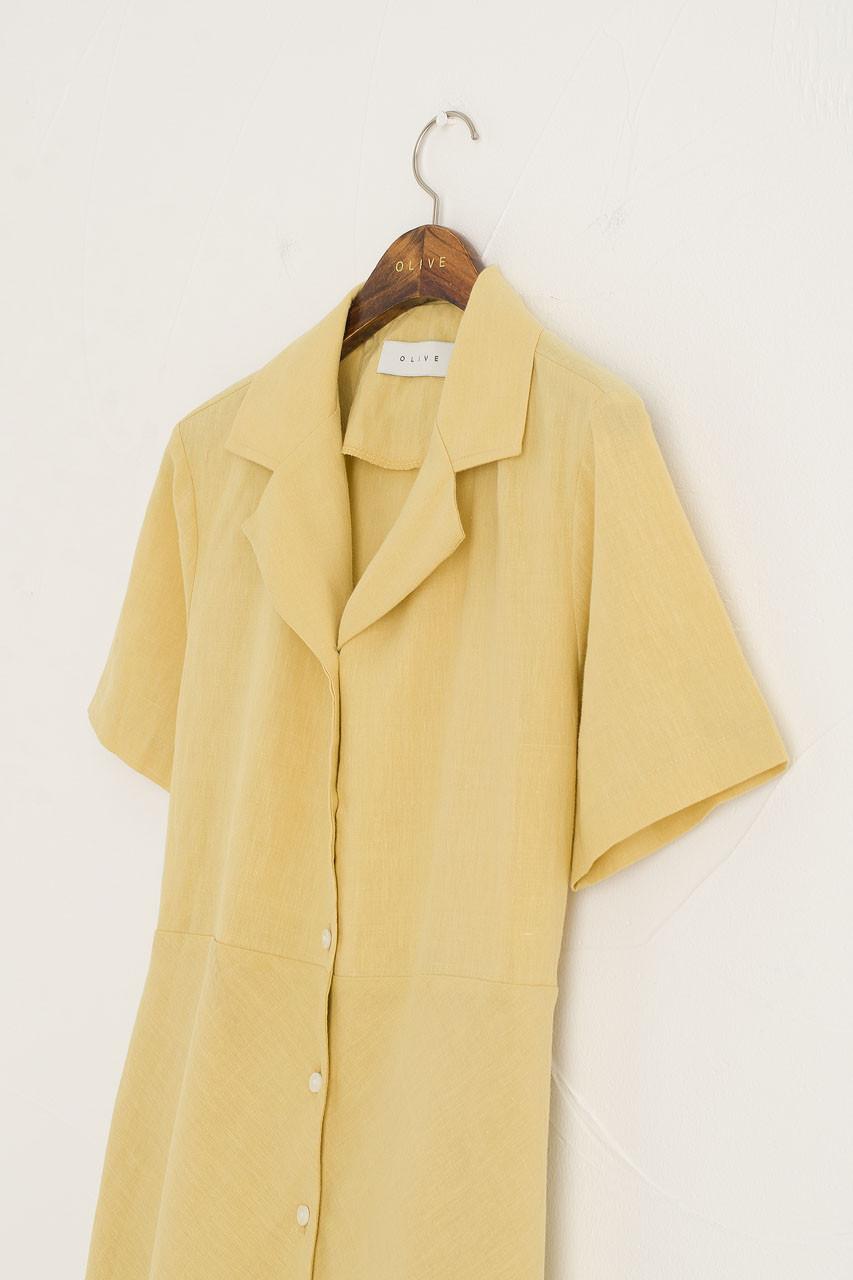 Kiko Linen Blend Collar Dress, Mustard