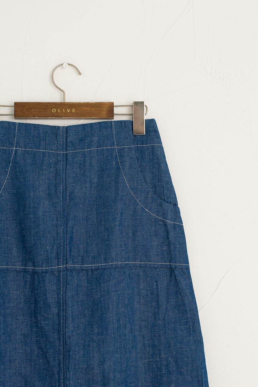Andie Linen Skirt, Denim Blue