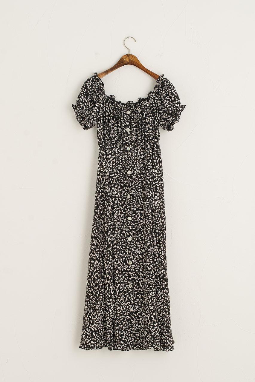 Eunha Flower Off Shoulder Dress, Black