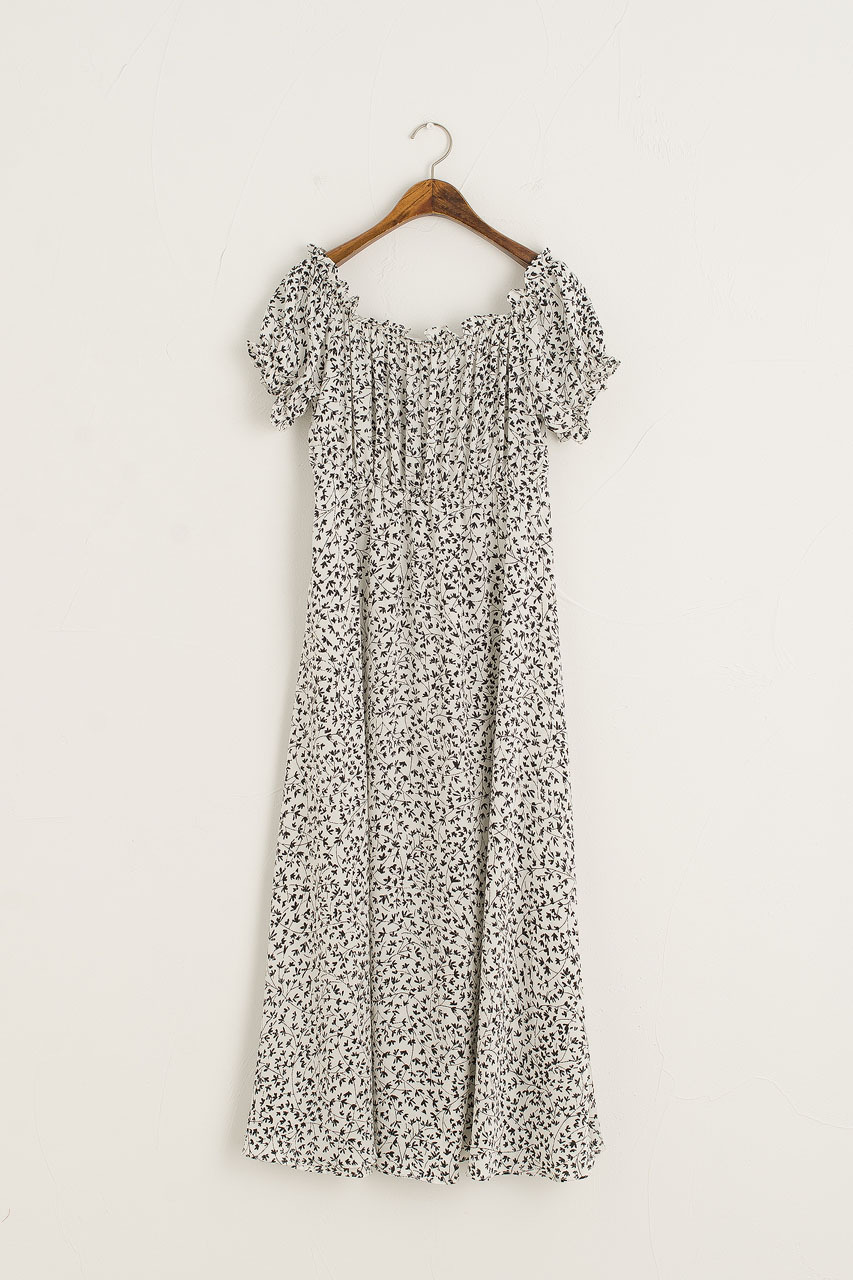 Eunha Flower Off Shoulder Dress, Ivory