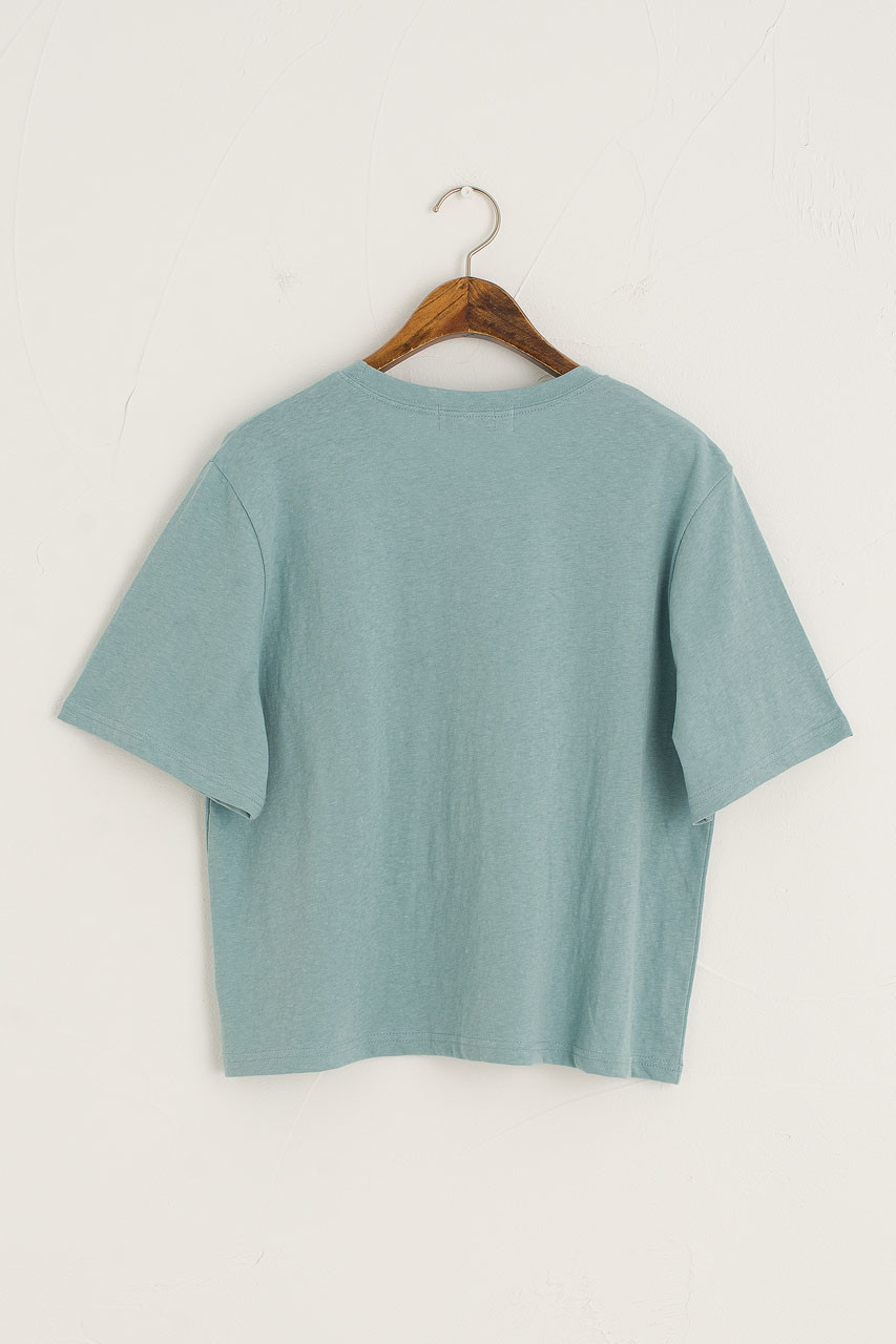 Dana Loose Fit Crop Tee, Washed Blue