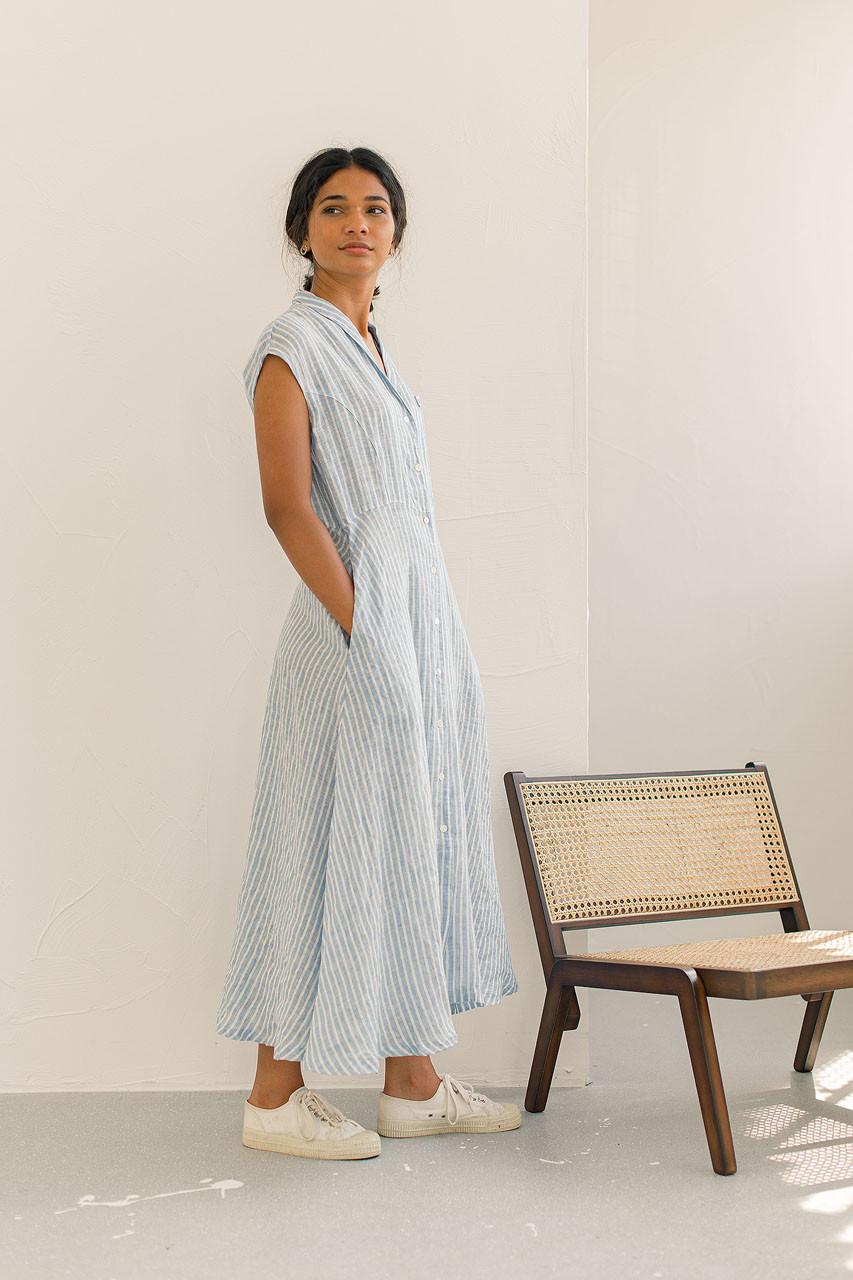 Hope Linen Dress, Blue Stripe