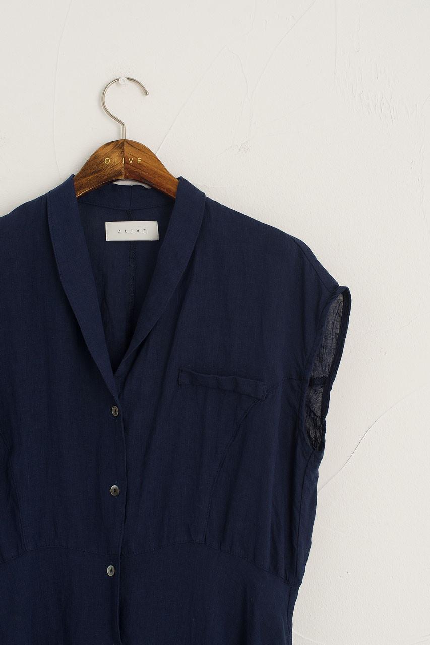 Hope Linen Dress, Navy