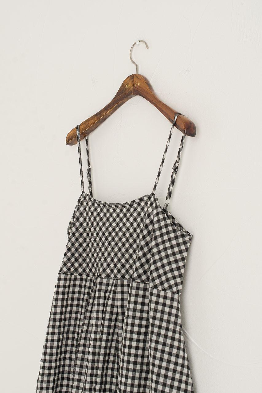 Gingham Pumpkin Slip Dress, Black