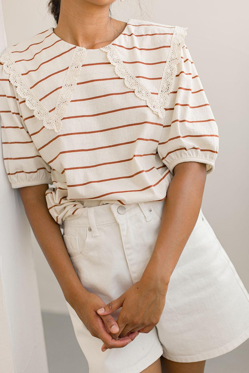 Lace Collar Stripe Sweatshirt, Camel
