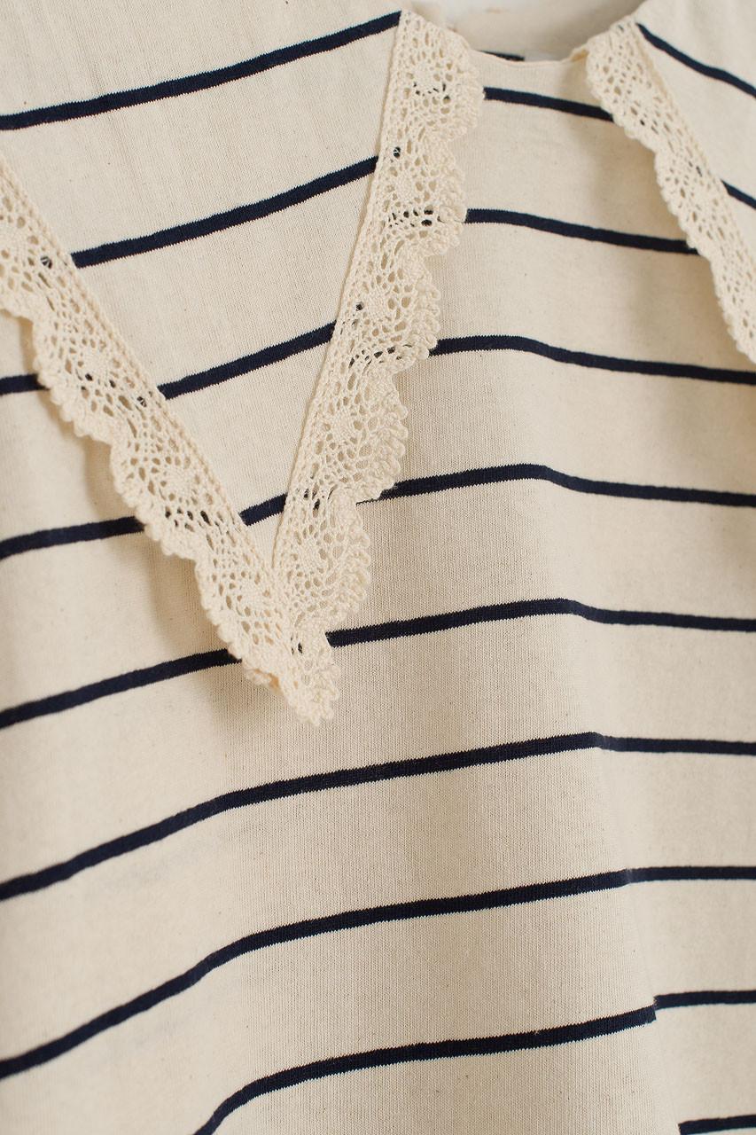 Lace Collar Stripe Sweatshirt, Navy