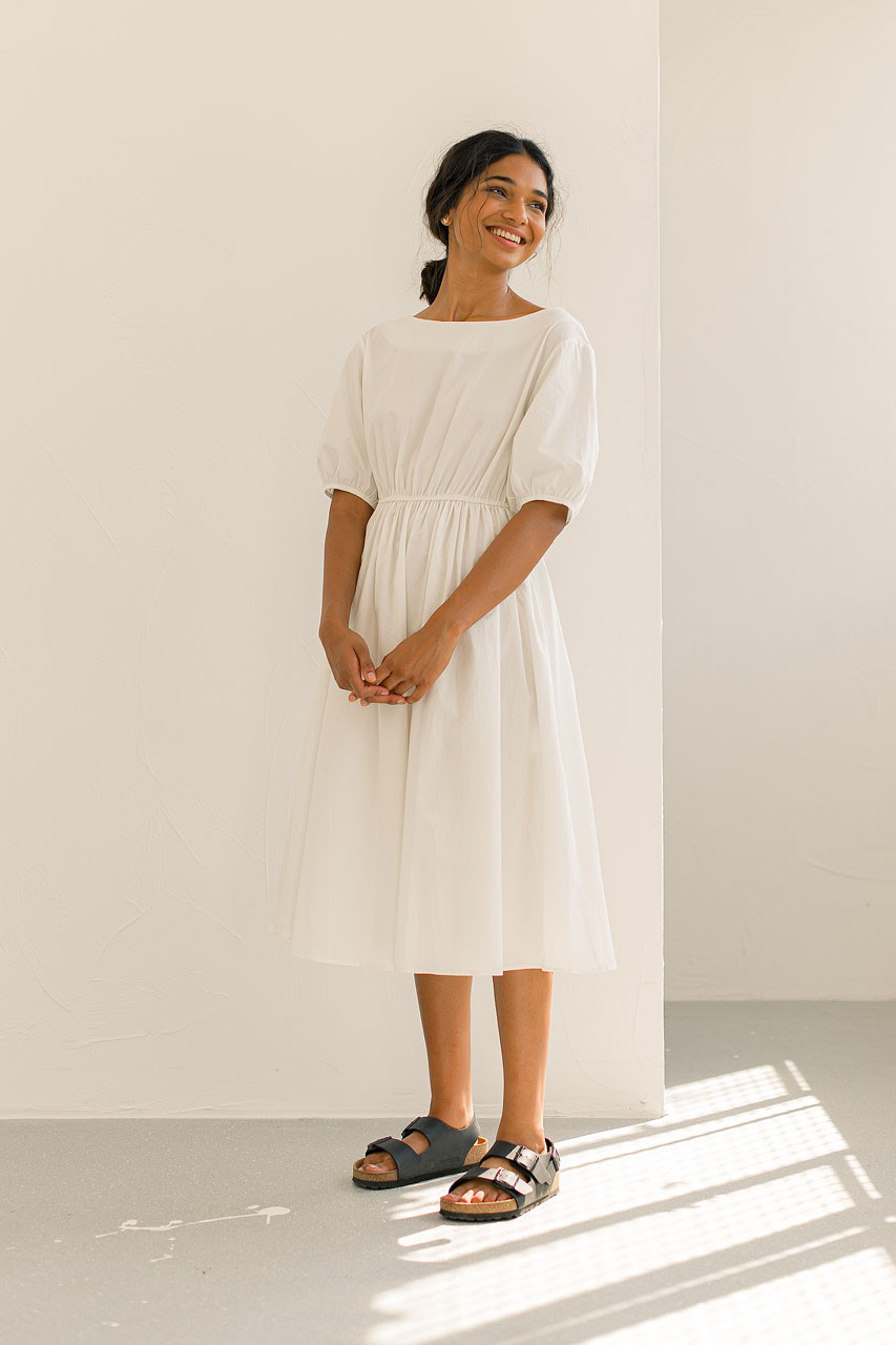Piona Open Back Dress, White