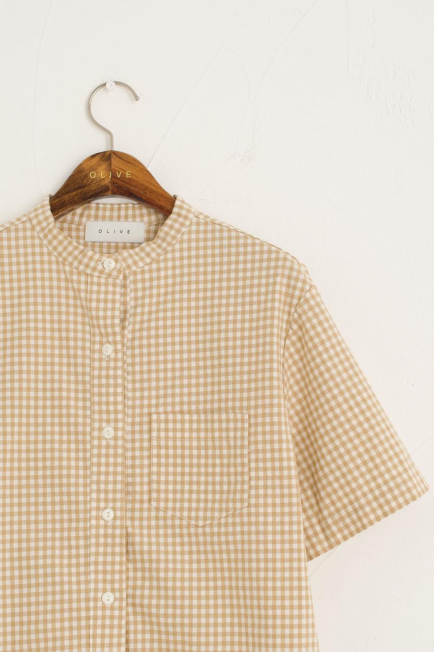Henley Neck Gingham Shirt, Beige