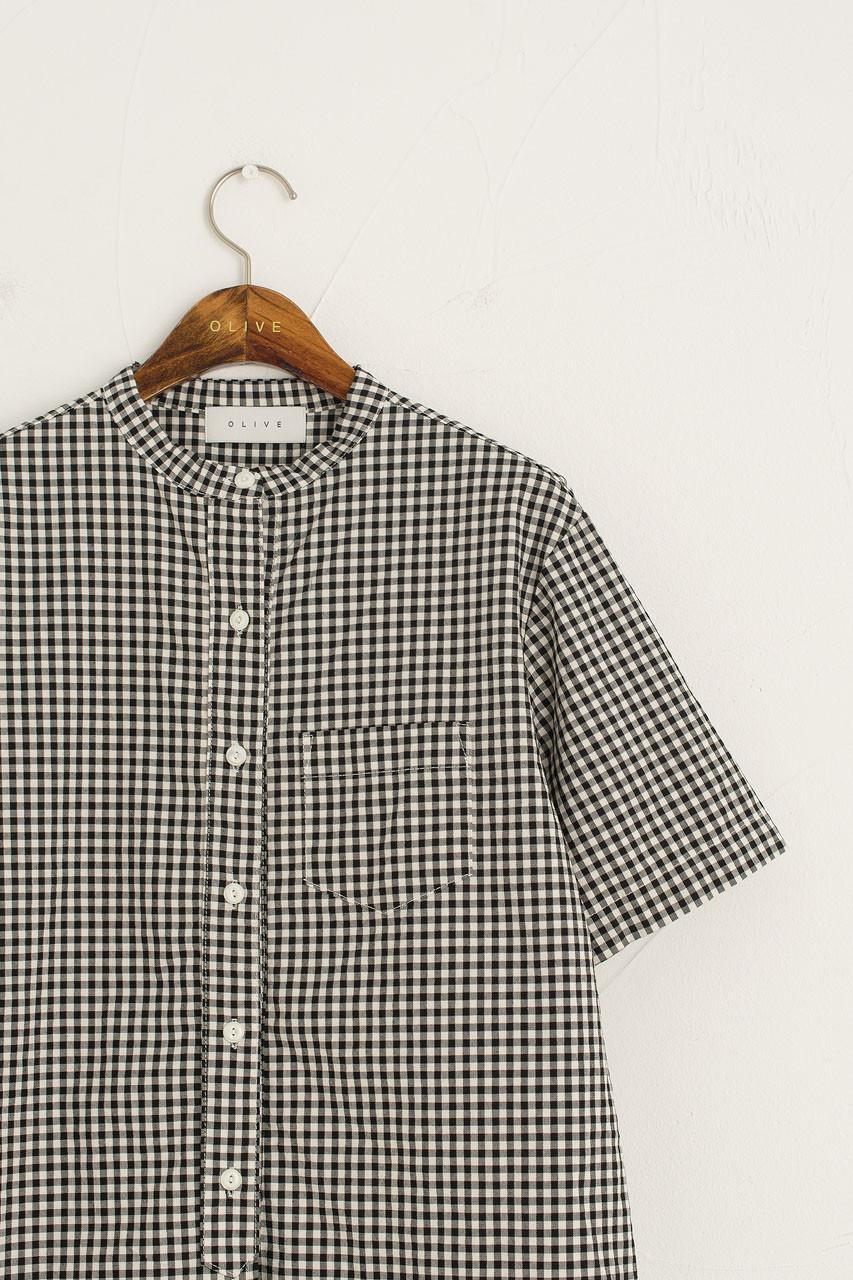 Henley Neck Gingham Shirt, Black