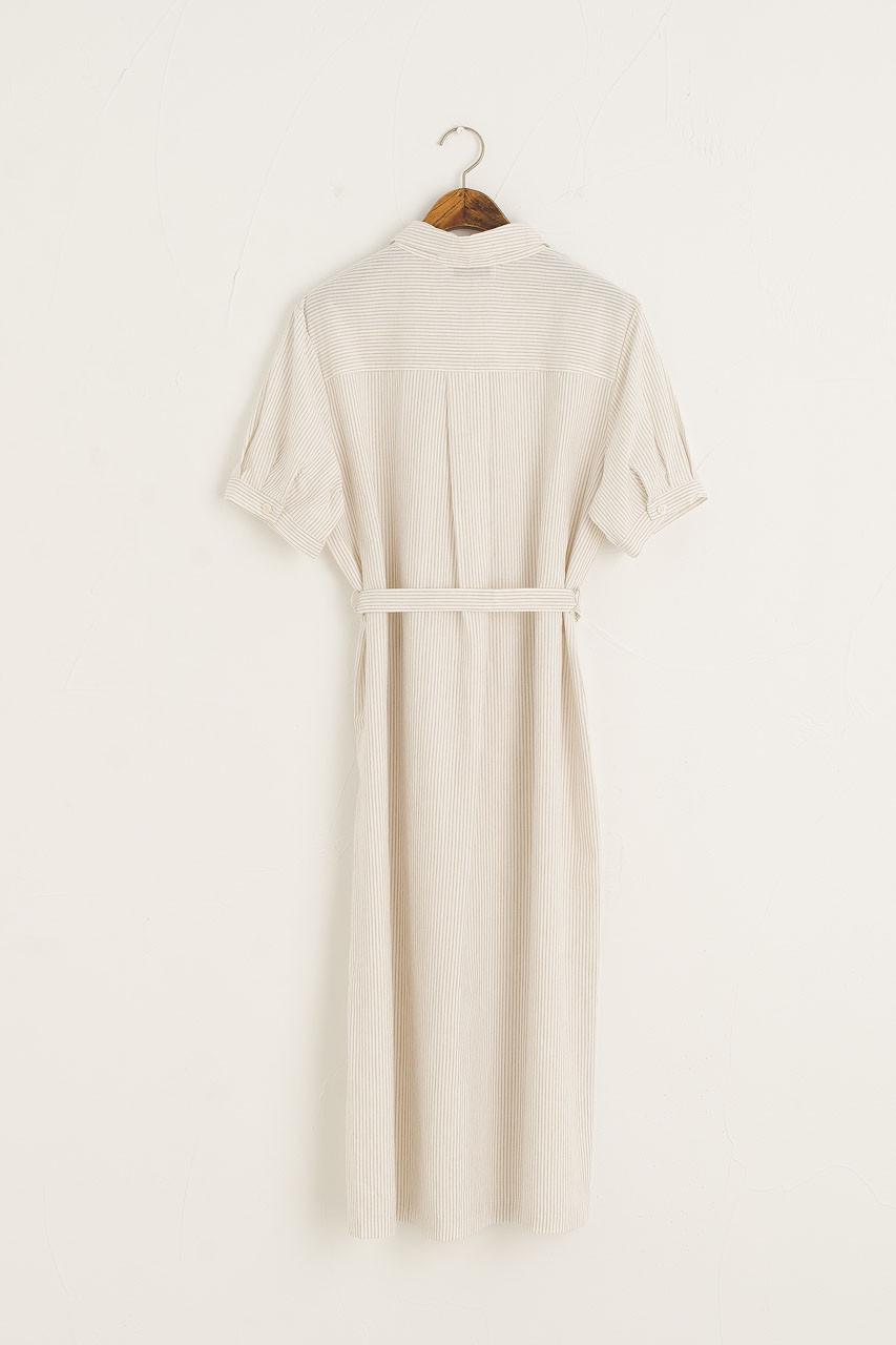 Pin Stripe Oxford Shirt Dress, Beige