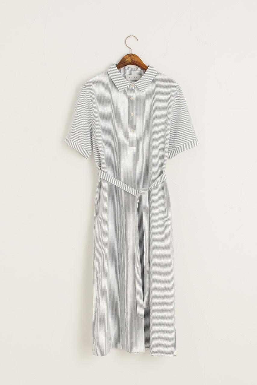 Pin Stripe Oxford Shirt Dress, Blue