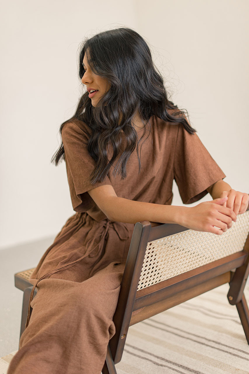 Pleated Linen Blend Dress, Brown