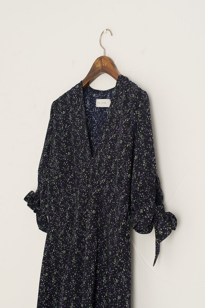 Jeanne Garden Print Dress, Navy