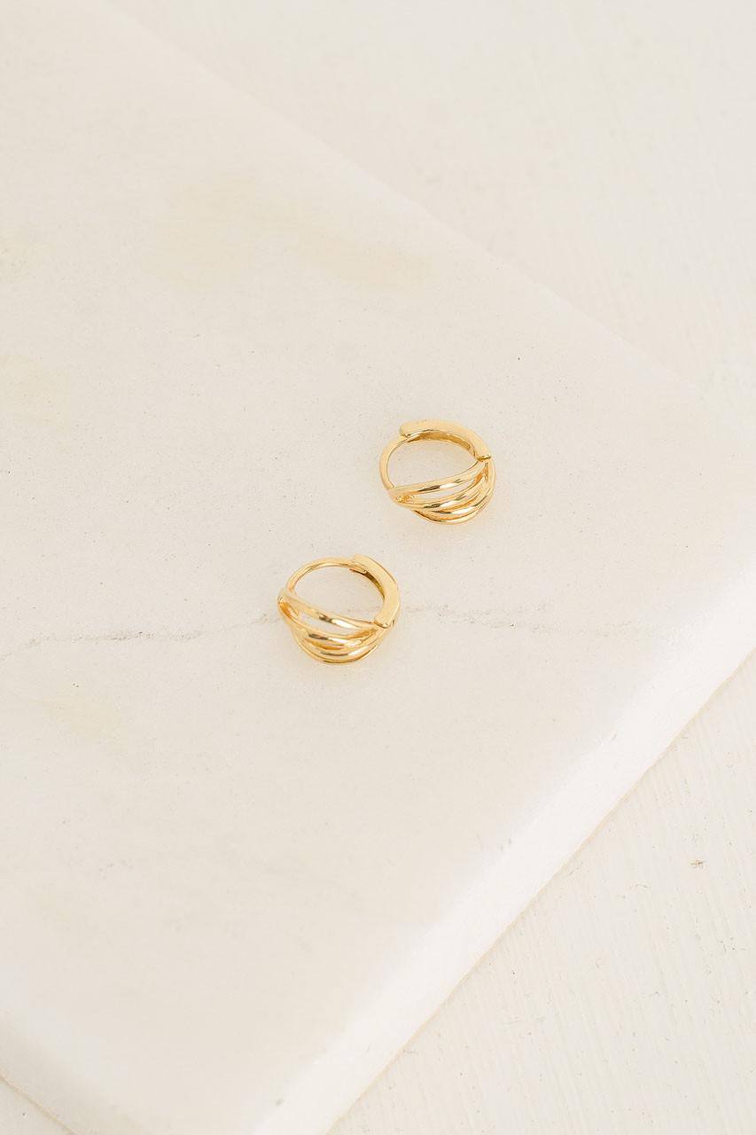 Scarlet Four Line Mini Earrings, 18K Gold Plated