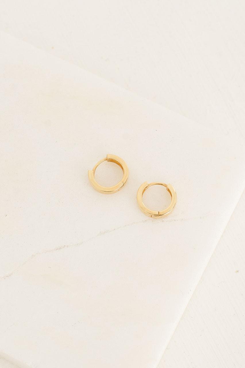 Simple Mini Huggie Hoop Earrings, 18K Gold Plated