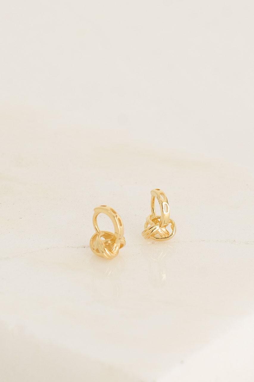 Mini Knot Huggie Hoop Earrings, 18K Gold Plated