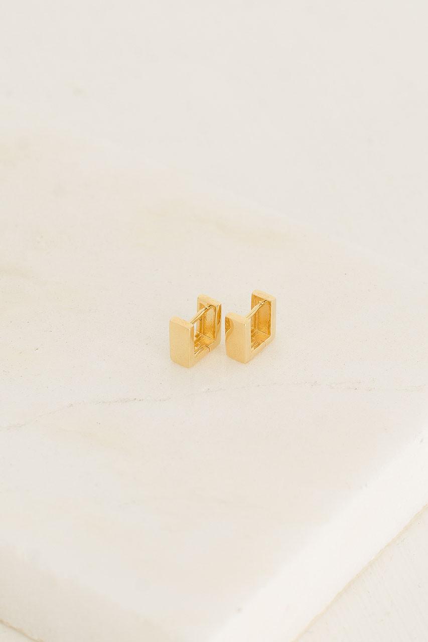 Quattro Huggie Hoop Earrings, 18K Gold Plated