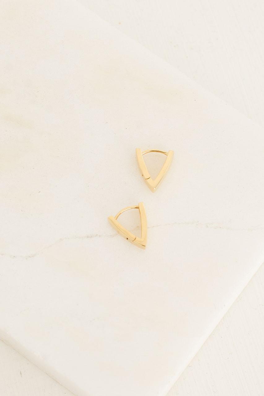 Triangle Huggie Earrings, 18K Gold Plated