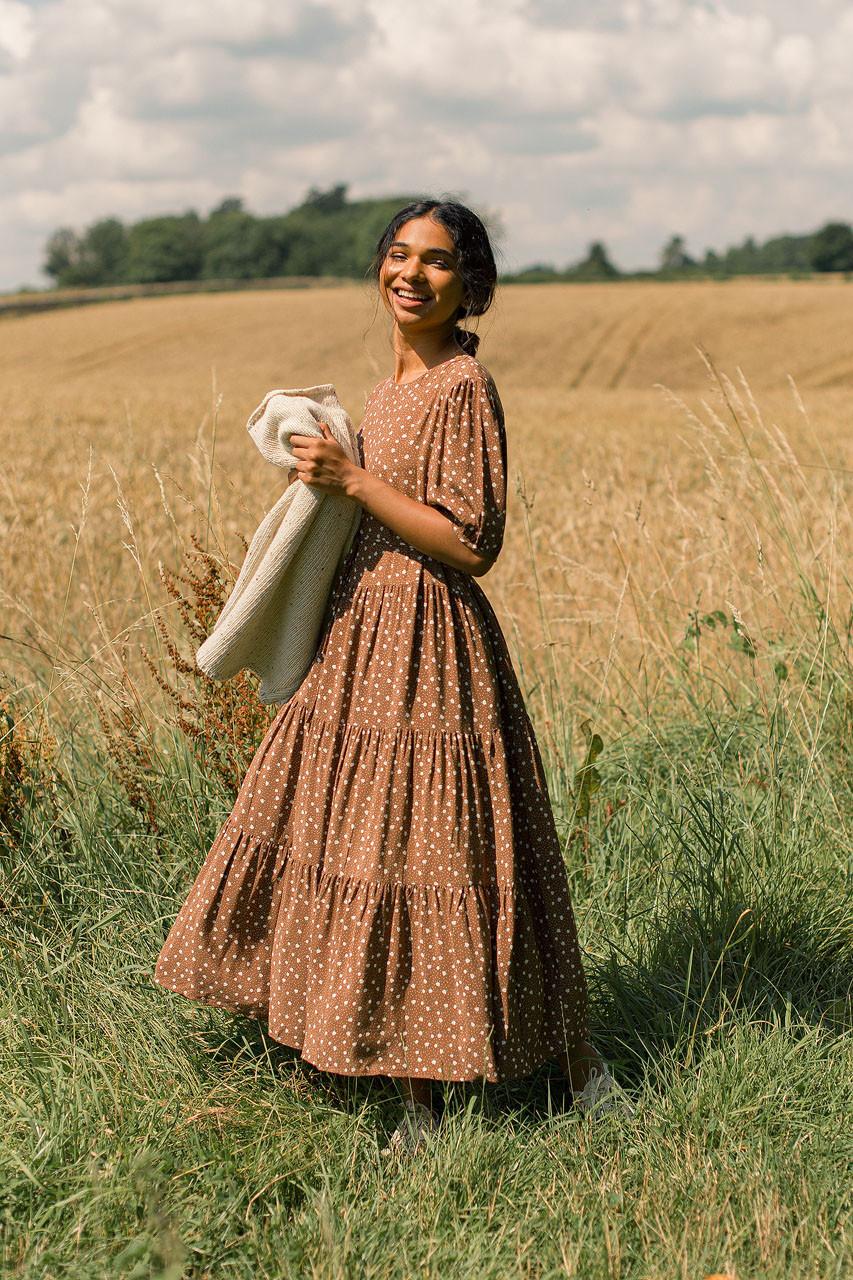 Daisy Print Tiered Dress, Brown