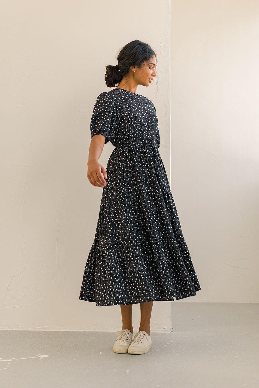 Daisy Print Tiered Dress, Black