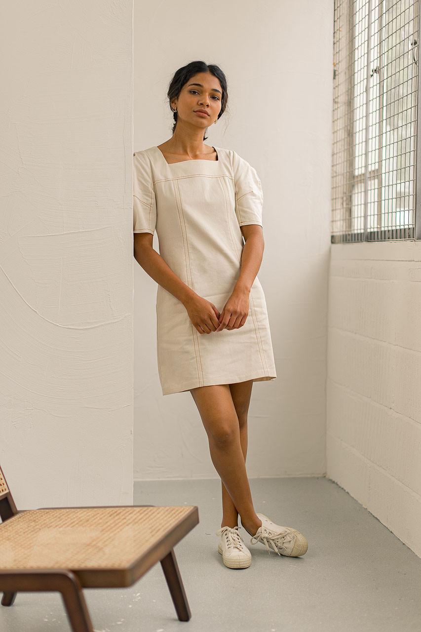 Roa Mini Denim Dress, Ivory