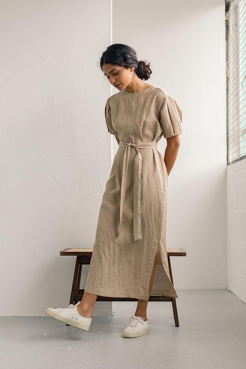 Fara Bell Sleeve Linen Dress, Sand Beige