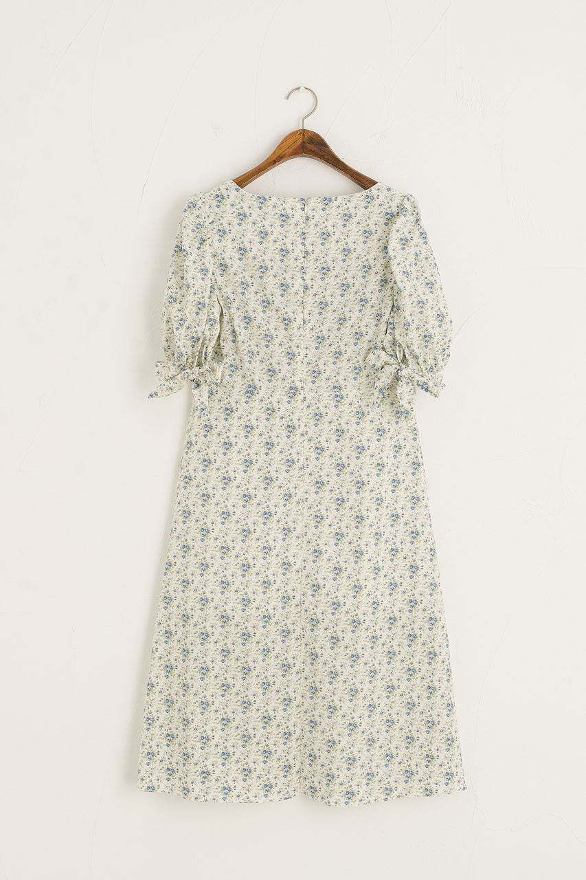 Knot Sleeve Midi Dress, Ivory Floral
