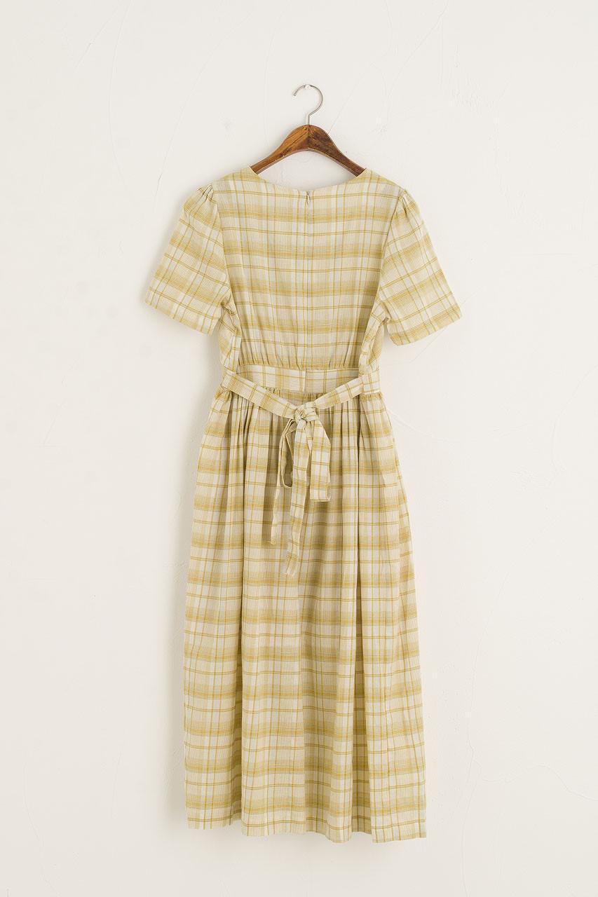 Soft Check Mid Length Dress, Lemon