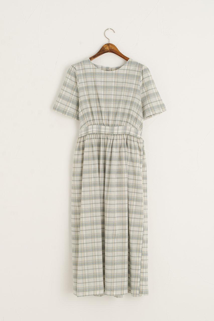 Soft Check Mid Length Dress, Blue