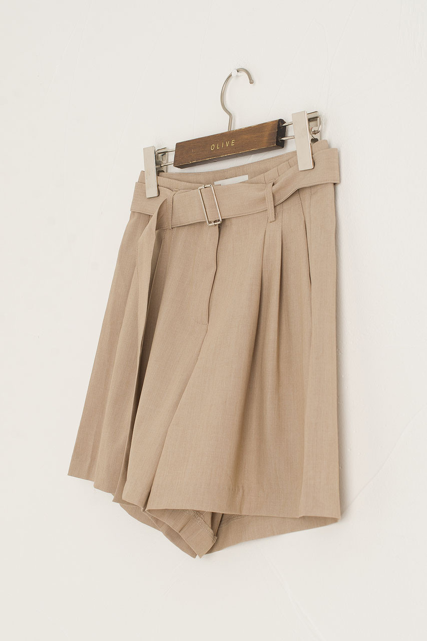 Jay Belted Pleated Short, Beige