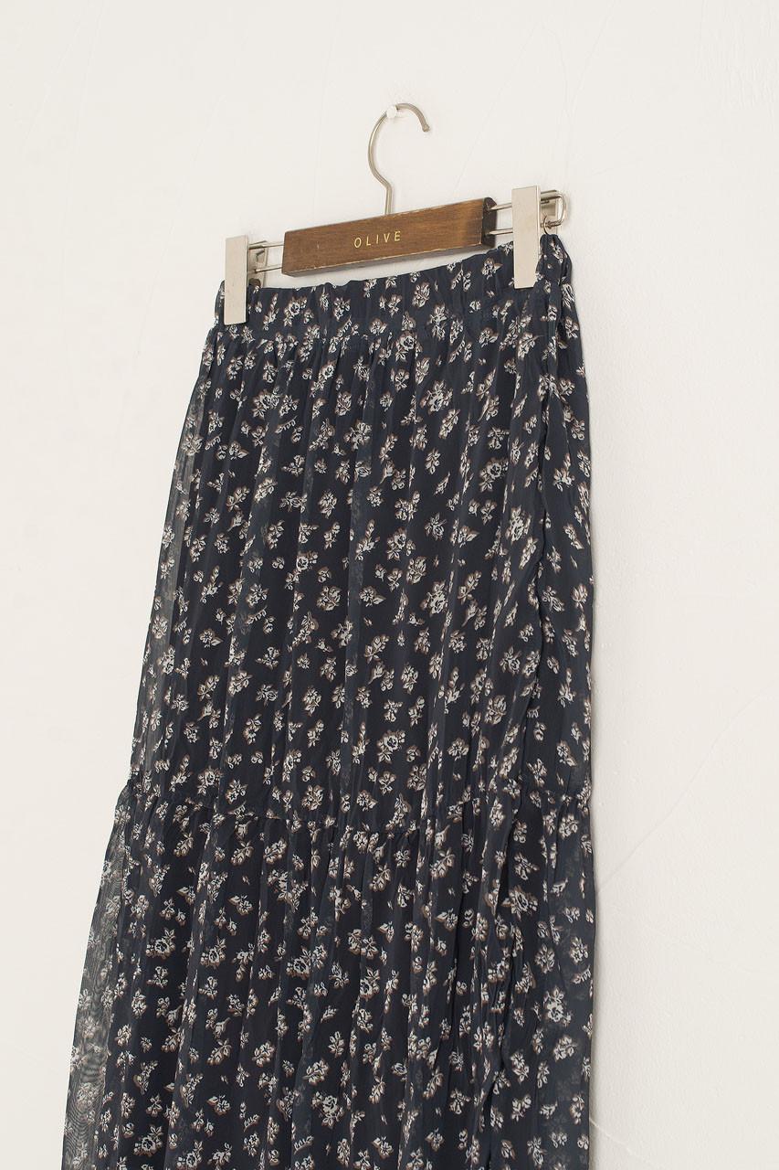 Kiera Flower Skirt, Charcoal