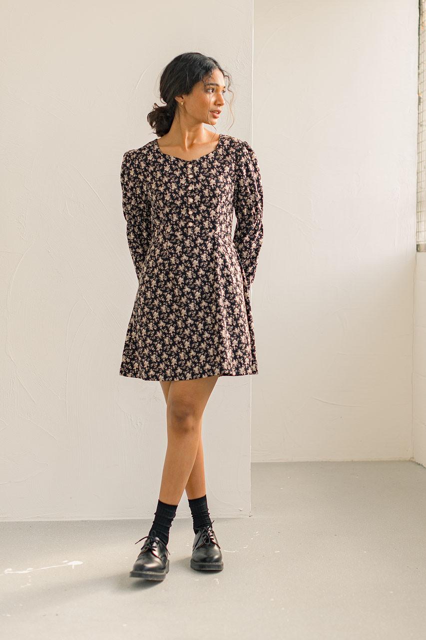 Katherine Floral Dress, Black