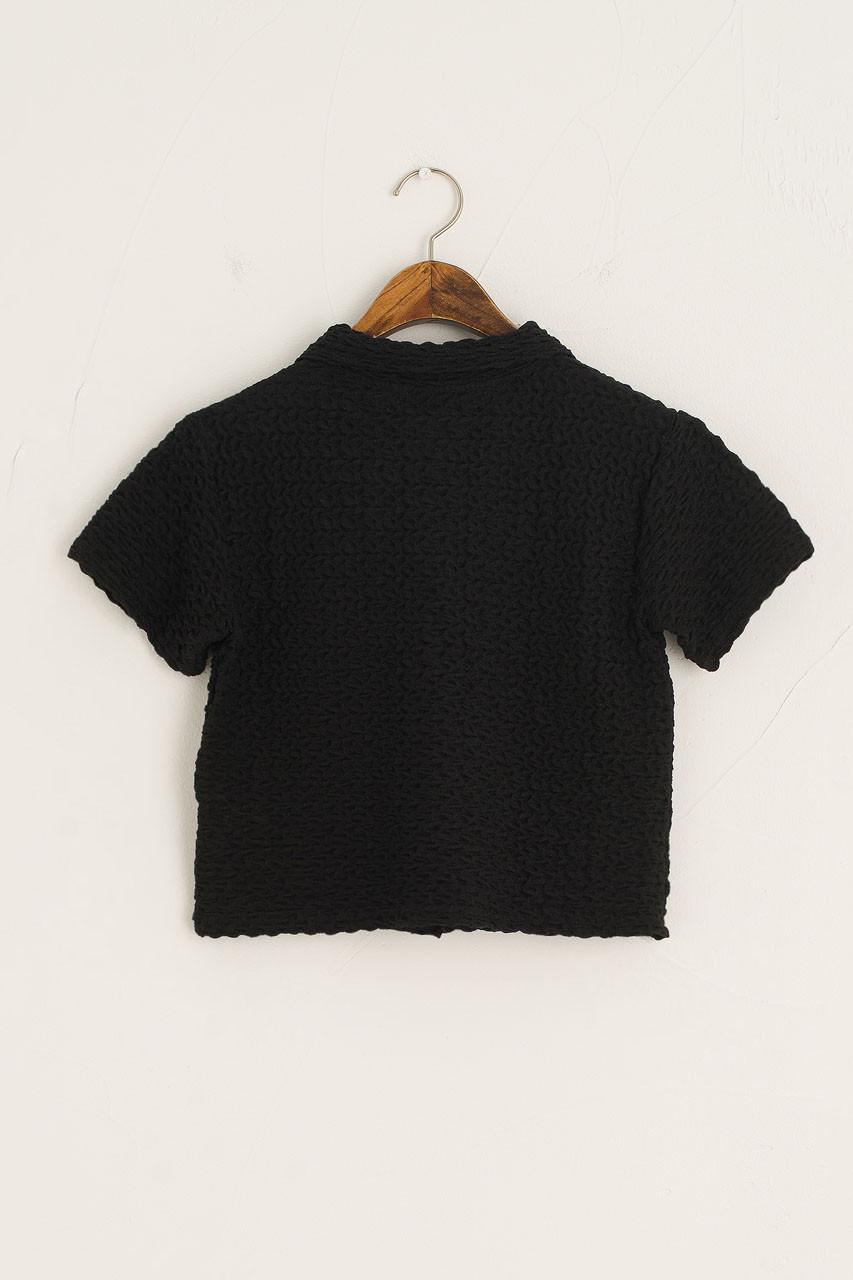Crinkle Crop Pique, Black