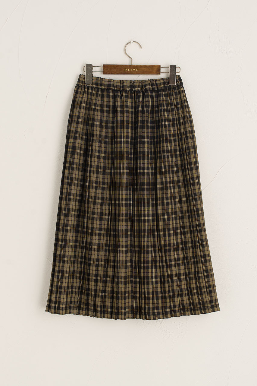 Classic Check Pleated Skirt, Black