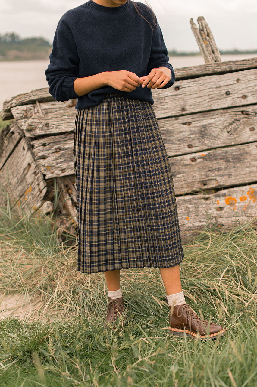 Classic Check Pleated Skirt, Navy