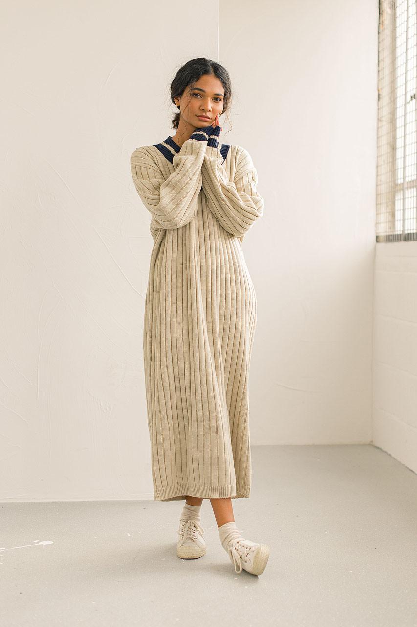 Varsity Knit Dress, Beige
