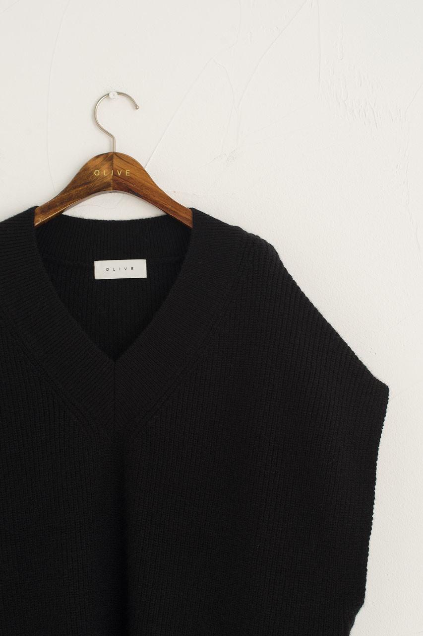 Juni Boxy Knit Vest, Black