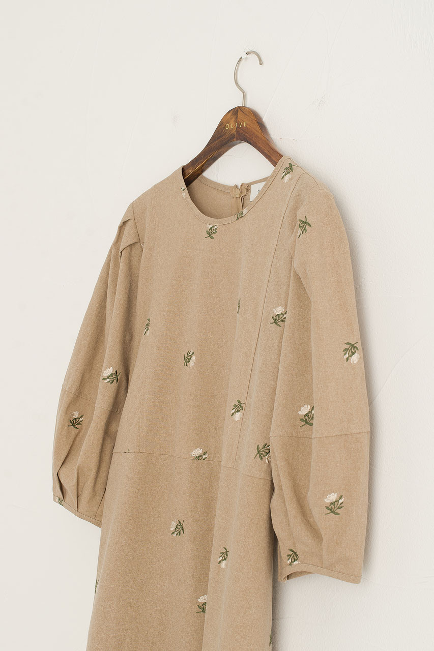 Purton Floral Dress, Mocha
