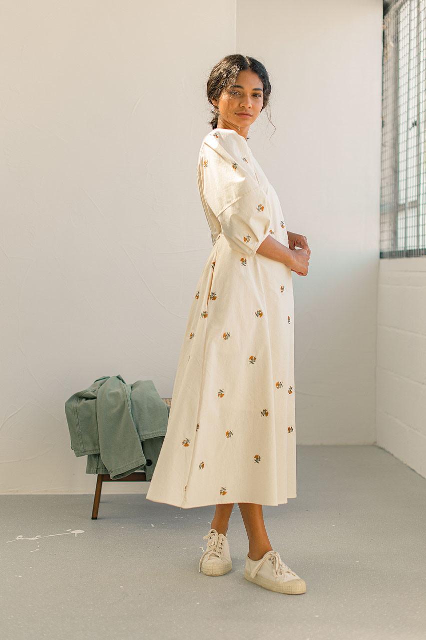 Purton Floral Dress, Ivory