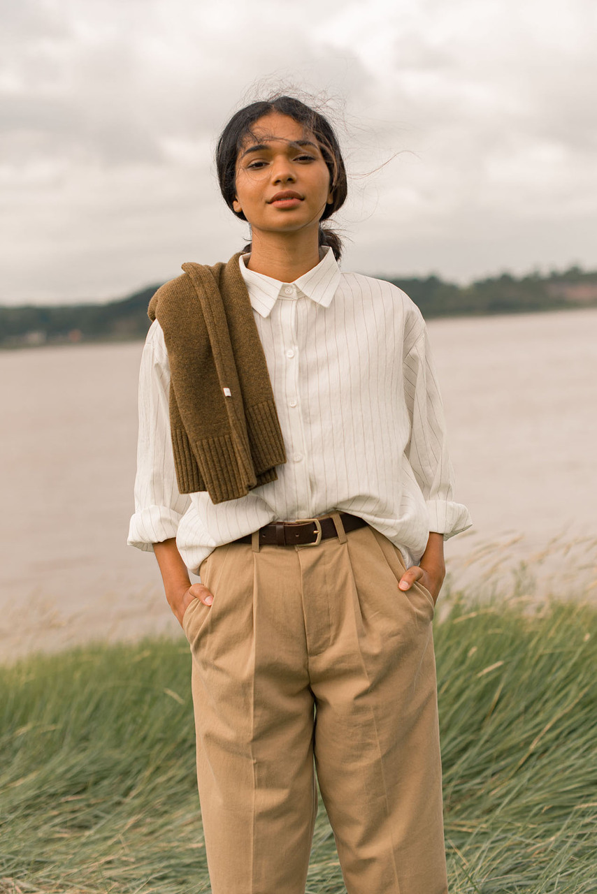 Purton Pinstripe Shirt, Ivory