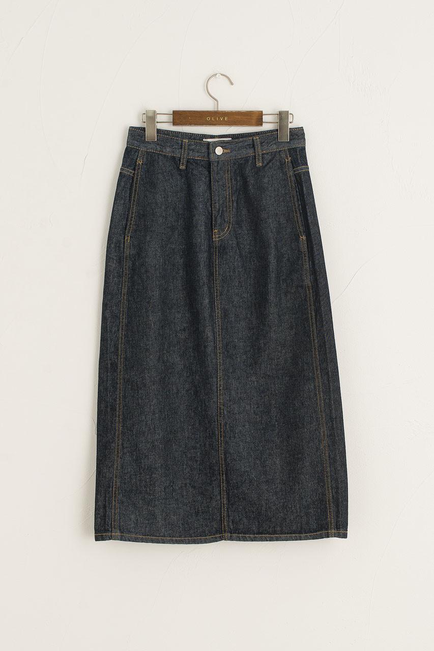 Raw Denim Mid Skirt, Indigo