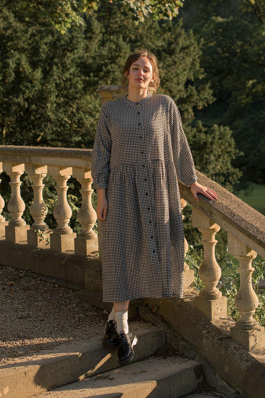 Annie Gingham Dress, Black