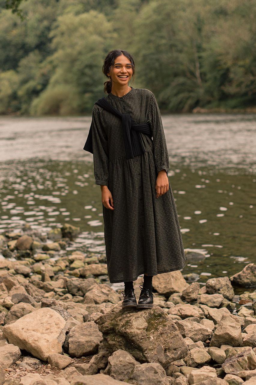 Annie Gingham Dress, Khaki