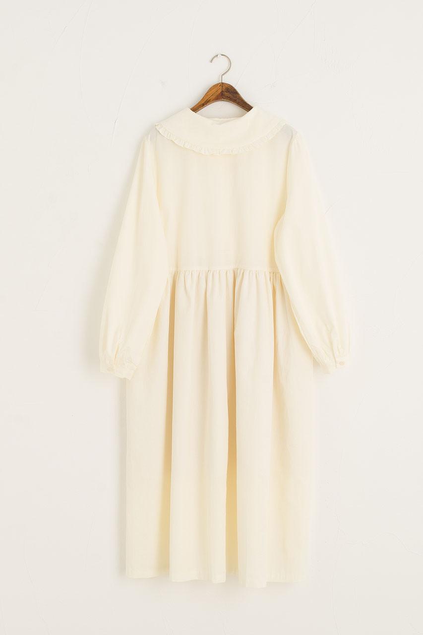 Frill Detail Collar Mid Length Dress, Cream