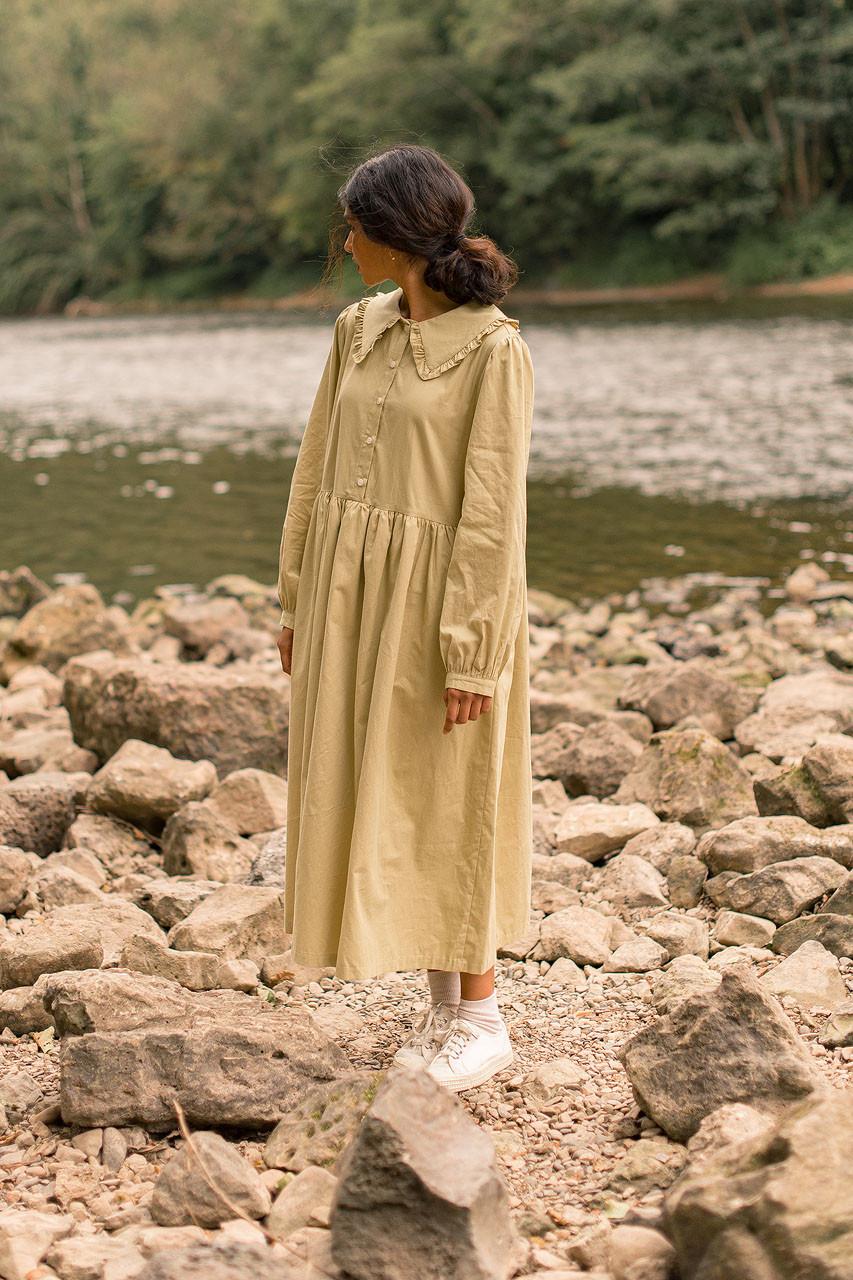 Frill Detail Collar Dress, Olive