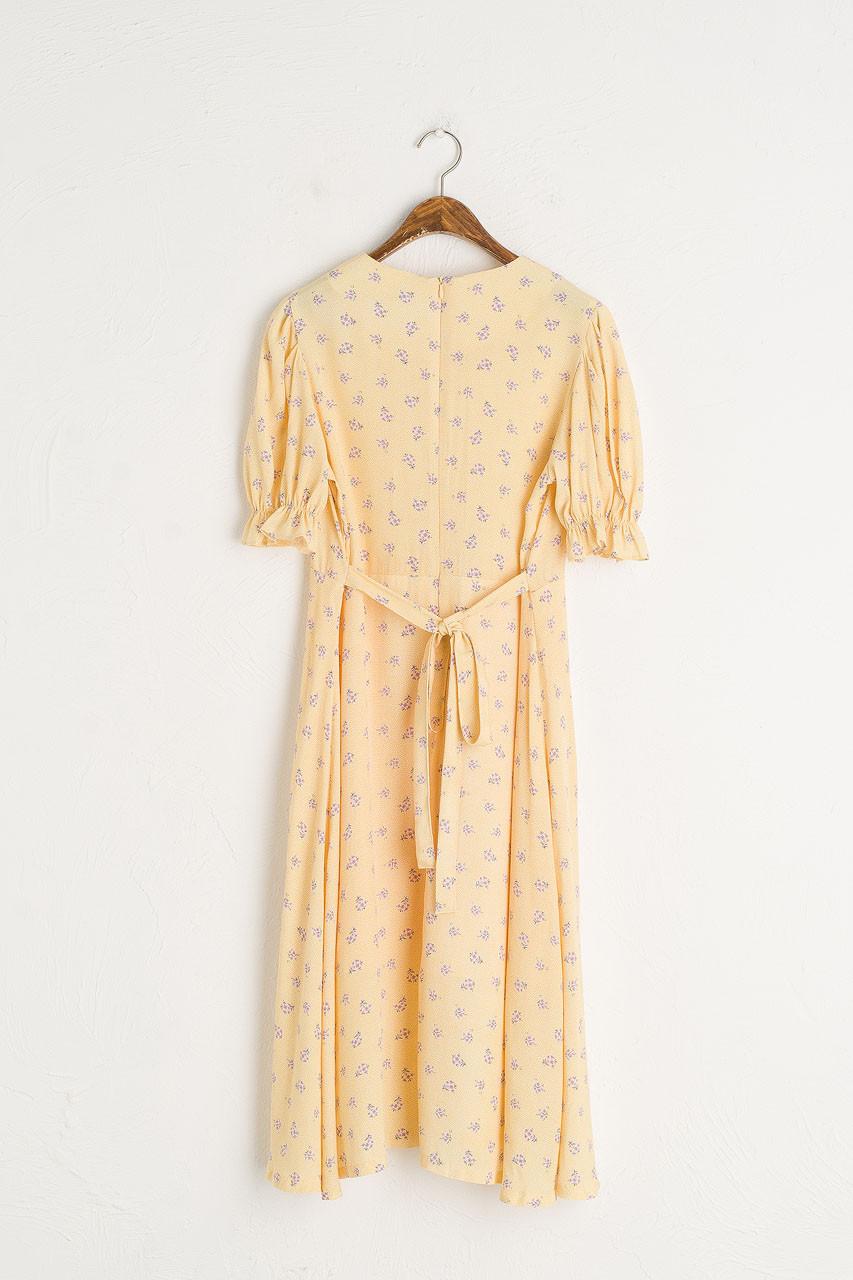 Hanako Bell Sleeve Flower Dress, Lemon